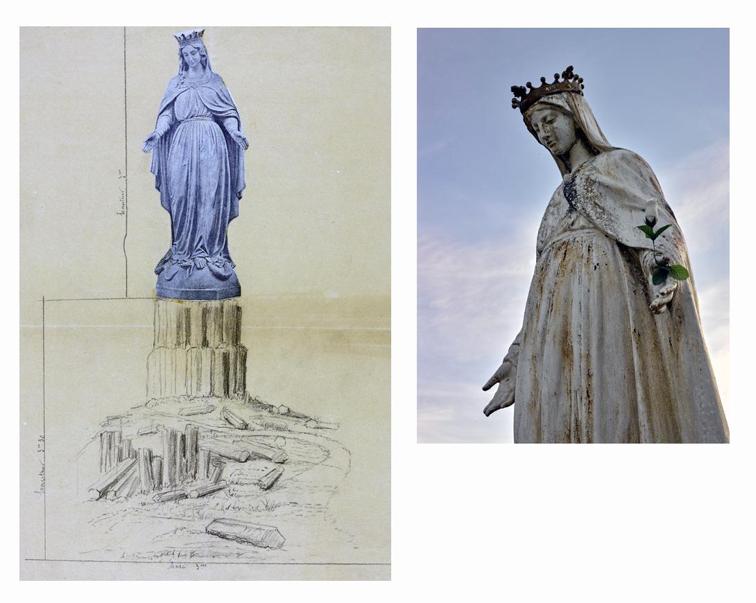 Fig.9. Dessin avec collage, annexé au projet présenté au conseil municipal d'Usson en 1892. La statue mise en place en 1893 est une Vierge à l'enfant (Arch. dép. du Puy-de-Dôme, 2 O 438/2) et fig.10. Châteauneuf-les-Bains (Puy-de-Dôme). Statue de la Vierge, dite de Notre-Dame de l'Espérance. Mise en place en 1893.