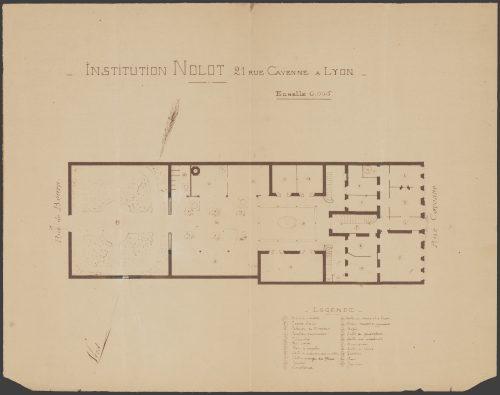 Relevé des bâtiments de l'Institution Nolot en 1901 (rez-de-chaussée), AC Lyon, 321 WP 046. (Repro Gilles Bernasconi © Archives municipales de Lyon)