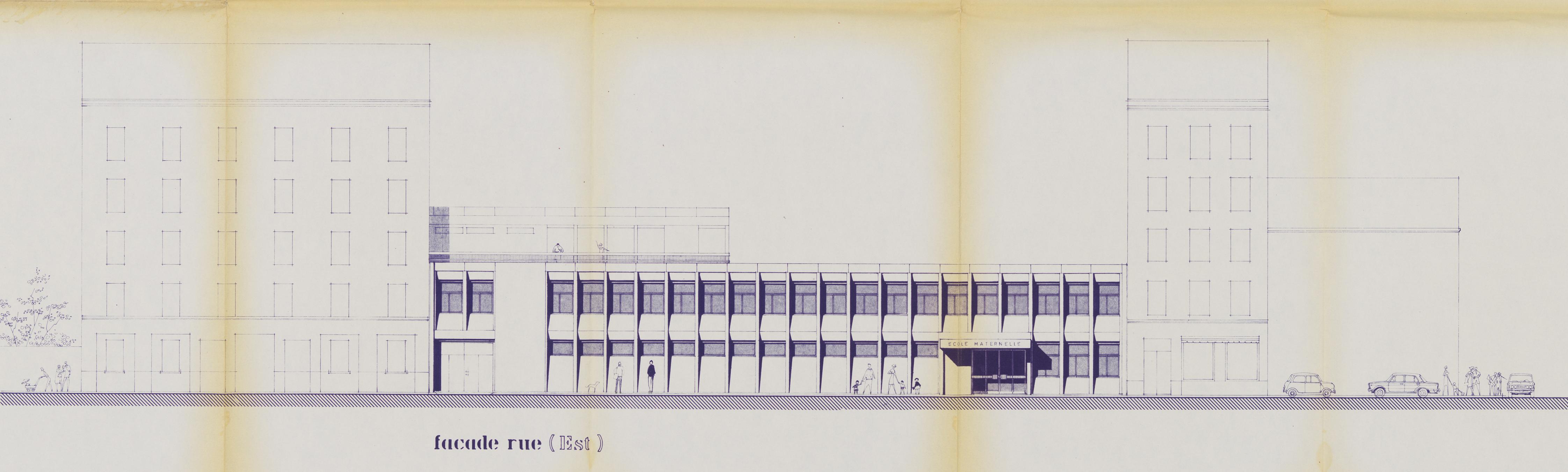 Groupe scolaire Cavenne-Pasteur, maternelle : façades / Georges Lavenir architecte DPLG, 1970, AC Lyon, 852 WP 004. (Repro Gilles Bernasconi © Archives municipales de Lyon)