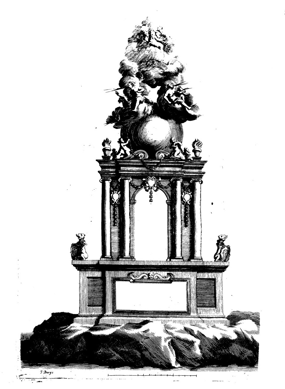 Machine du feu d'artifice dressé sur la Saône en avril 1701