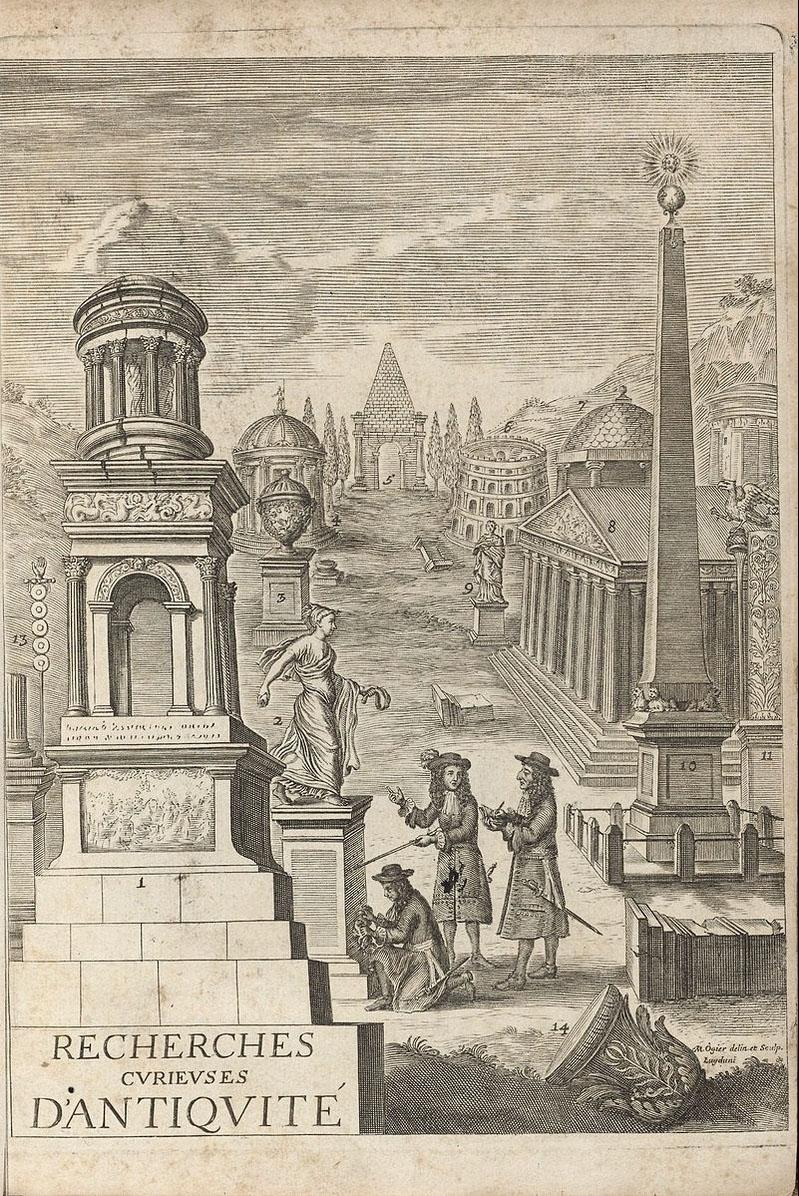 Ill. 10. J. Spon, Recherches curieuses d'Antiquités : frontispice de Michel Ogier, 1683