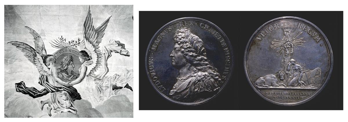 Ill. 16. <em>Portraits du roi Louis XIV</em>. A gauche : plafond du médaillier, 1701 ; à droite, Jean Mauger,<em> Batavia Debellata</em>, avers et revers, 1672, Paris, B.n.F., Cabinet des médailles et des antiques.
