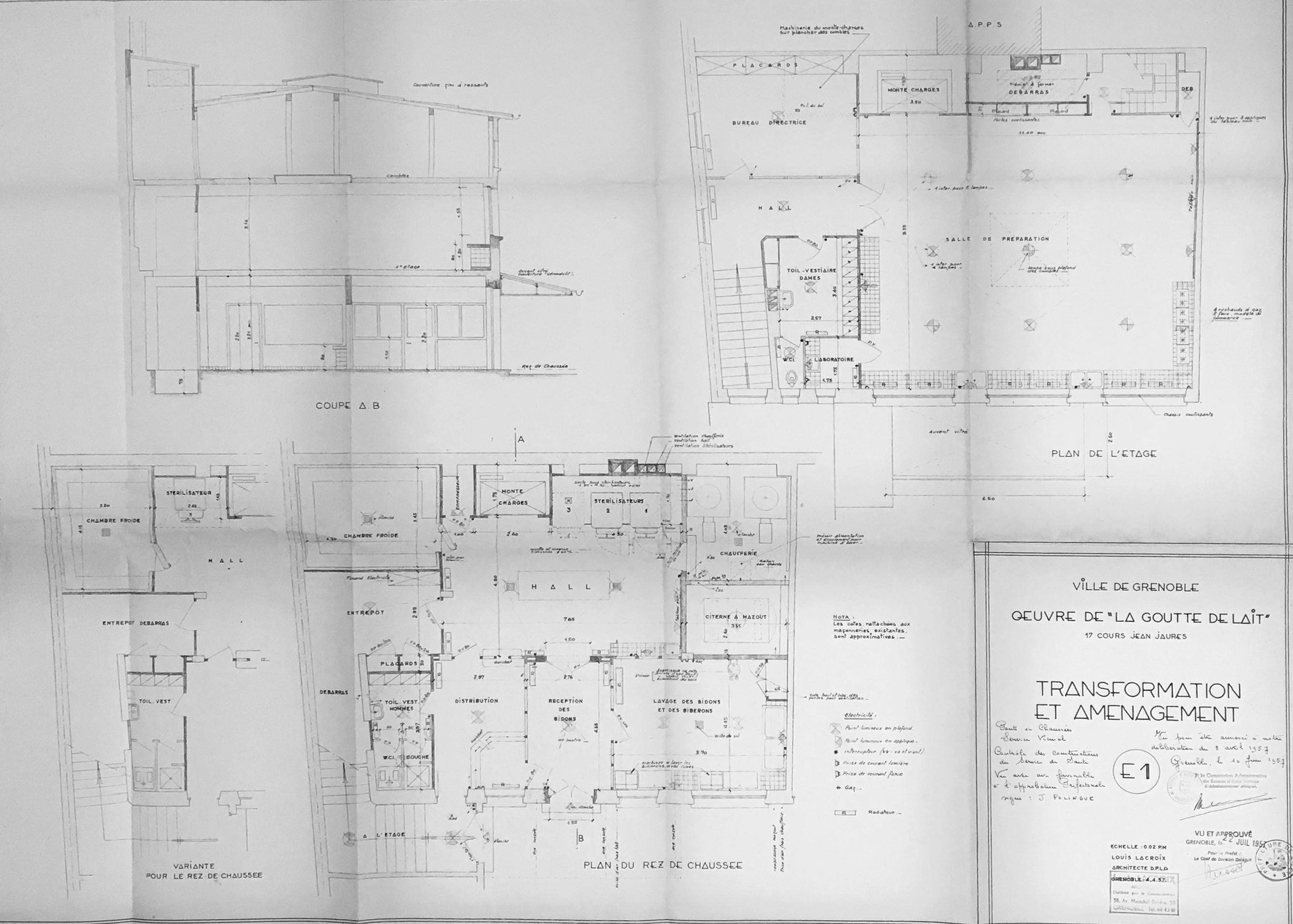 Transformation et aménagements en 1956 : plans et coupe par Louis Lacroix, architecte