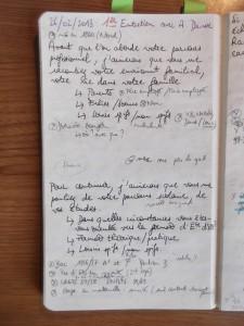 Carnet d'entretien, Guide du premier entretien avec Annick Davisse, Questions prioritaires, p. 1