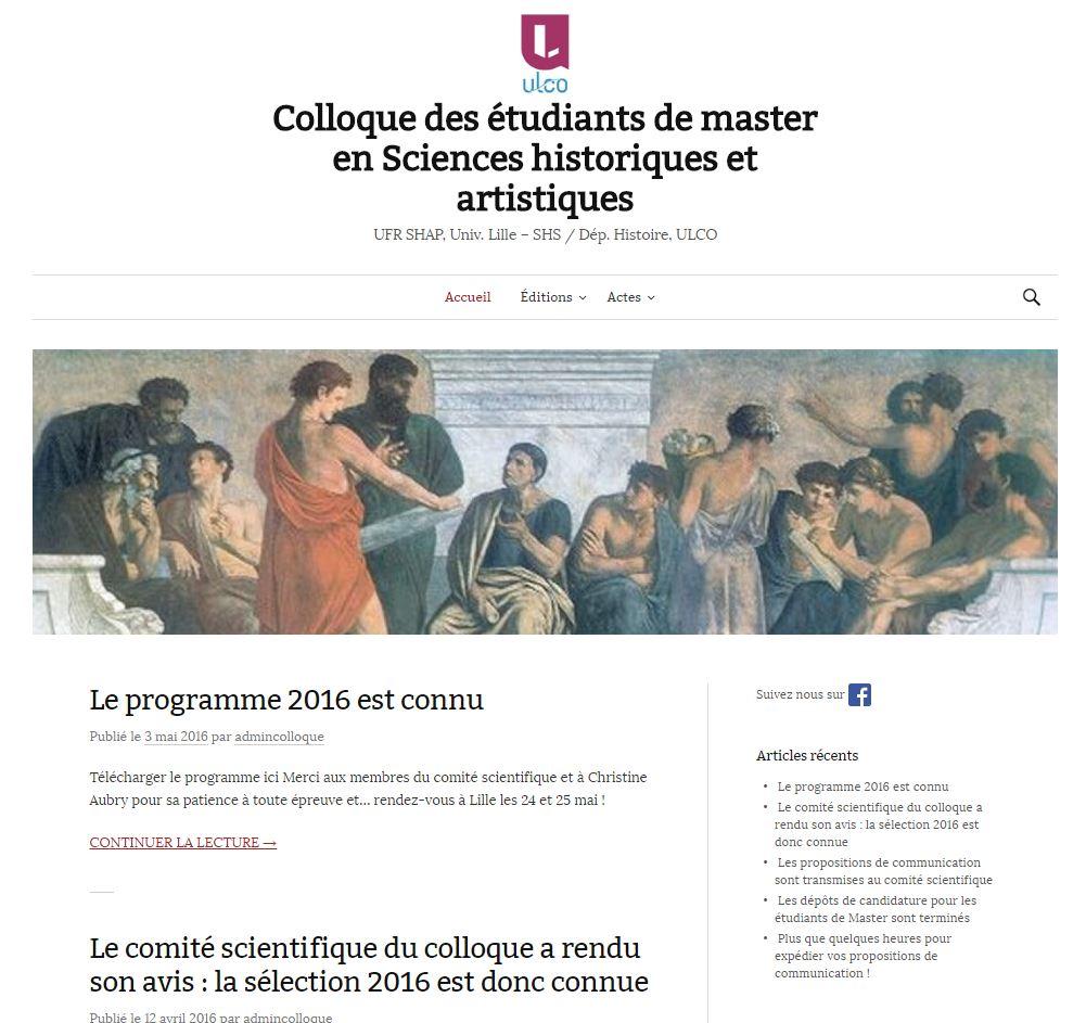 Site Web du colloque - lancé officiellement en mai 2016