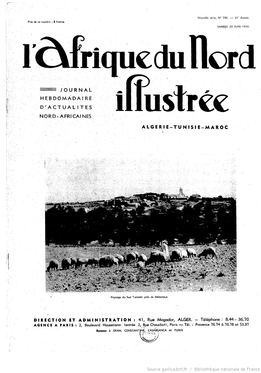 L'Afrique du Nord illustrée, 20 juin 1936 | Source : Gallica.fr BnF