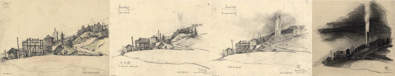 Croquis de l'entrée du camp-haut de Bertrand Monnet replaçant le projet de flamme dans son environnement (fonds Denkmalarchiv, montage Olivier Munsch).