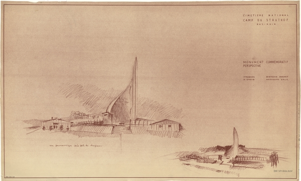 Croquis de Bertrand Monnet pour la flamme-mémorial hélicoïdale (fonds Denkmalarchiv).