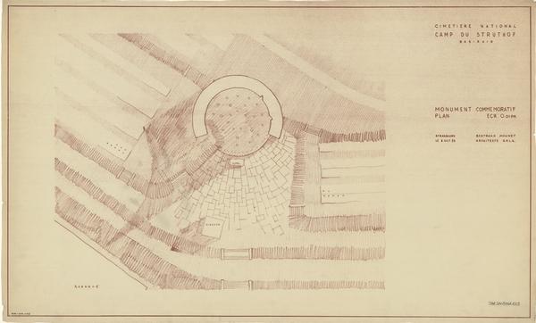 Plan au sol de Bertrand Monnet pour la flamme-mémorial hélicoïdale, octobre 1953 (fonds Denkmalarchiv).