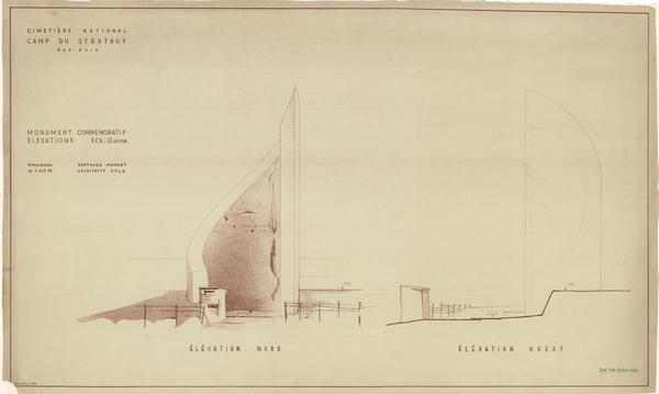 Élévation du projet de Bertrand Monnet pour la flamme-mémorial hélicoïdale, octobre 1953 (fonds Denkmalarchiv).