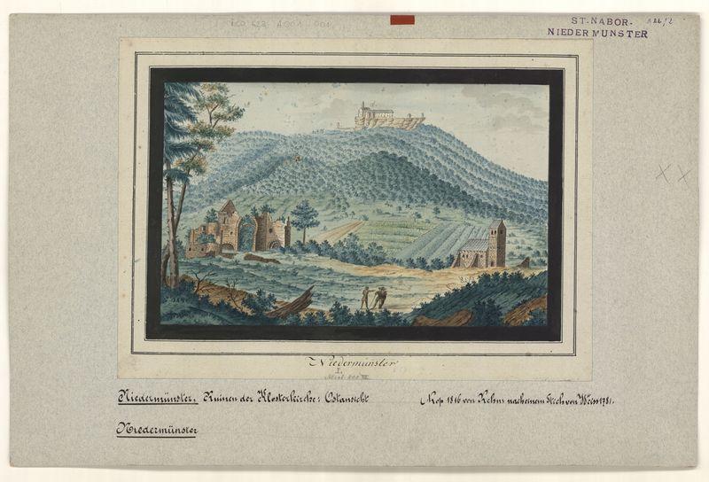 Vue de l'abbaye de Niedermunster et du Hohenbourg. Aquarelle, auteur : Rehm, 1816, d'après une gravure de Weiss, 1781 (fonds Denkmalarchiv)