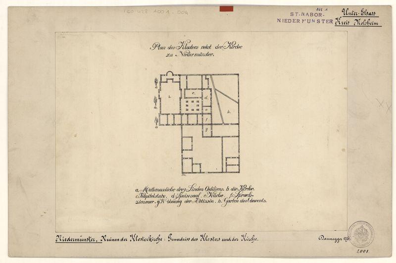 Plan de l'abbaye d'après un dessin de A. Dannegger, 1751 (fonds Denkmalarchiv)