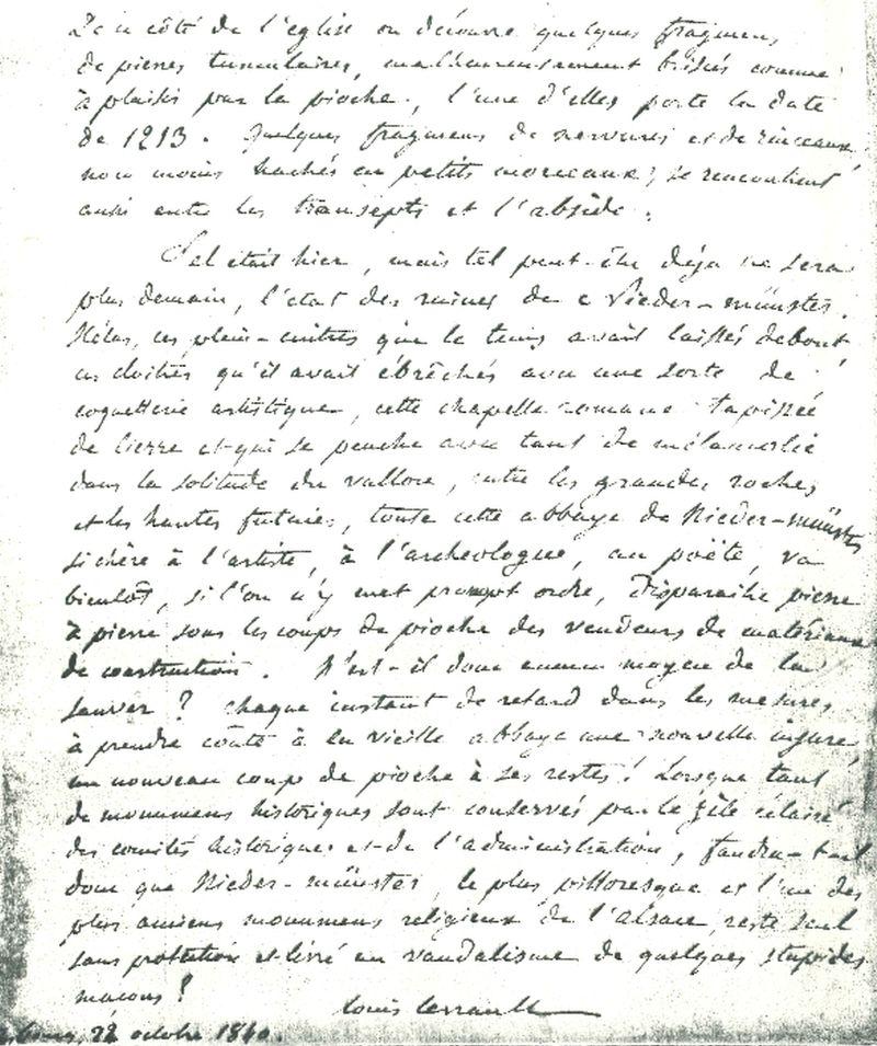 Extrait du rapport de Louis Levrault sur l'ancienne abbaye de Niedermunster, 1840 (dossier documentaire de protection, CRMH DRAC Alsace)