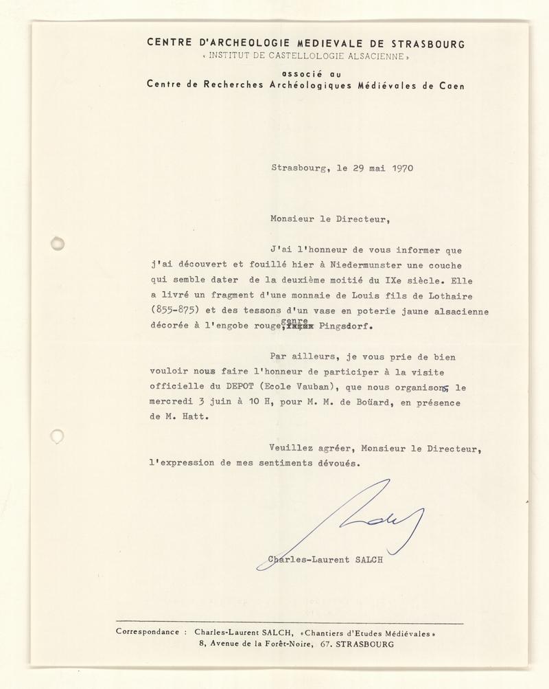 Lettre de M. Salch adressée à M. Pétry, directeur des Antiquités hisotriques, 1970 (carte archéologique, dossier Saint-Nabor)