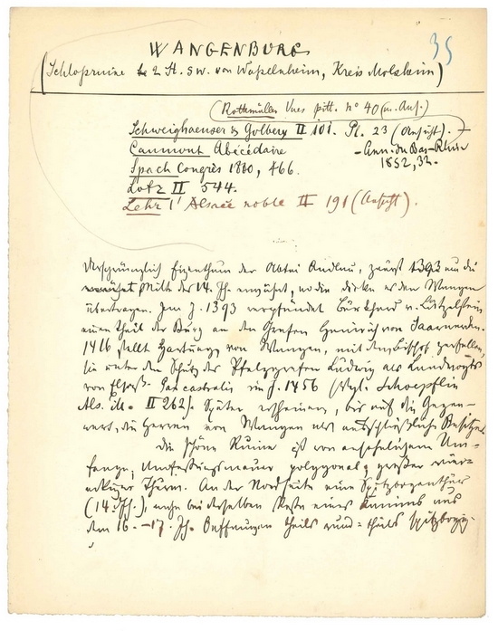 Notes manuscrites en vue de la rédaction de l'ouvrage Kunst und Alterthum in Elsass-lothringen. Franz-Xaver Kraus (Région Alsace, Service de l'inventaire du patrimoine)