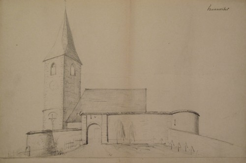 Dessin de l'église fortifiée de Hunawihr. Auteur : A. Straub, sd. (Bibliothèque du Grand Séminaire)