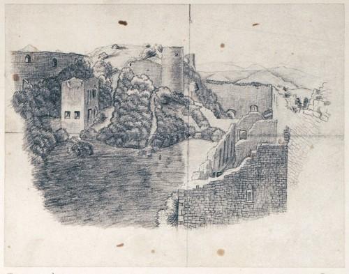 Vue du château de Hohlandsbourg à Wintzenheim. Auteur : Alexandre Straub, 1860 (Bibliothèque du Grand Séminaire)