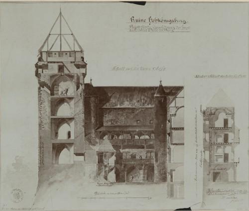 Projet de restauration du HAut-Koenigsbourg. Auteur : Charles Winkler, 1894 (Denkmalarchiv, DRAC Alsace)