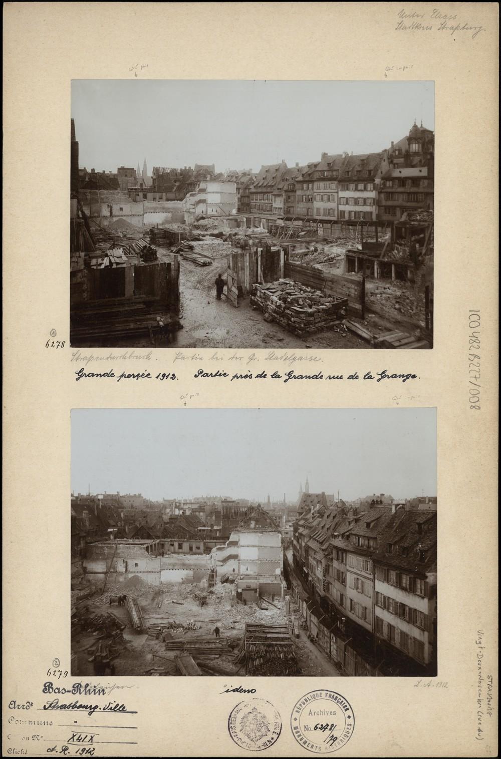Travaux de la Grande Percée, actuelle rue du 22-Novembre à Strasbourg. S.n., 1912 (Denkmalarchiv, DRAC Alsace)