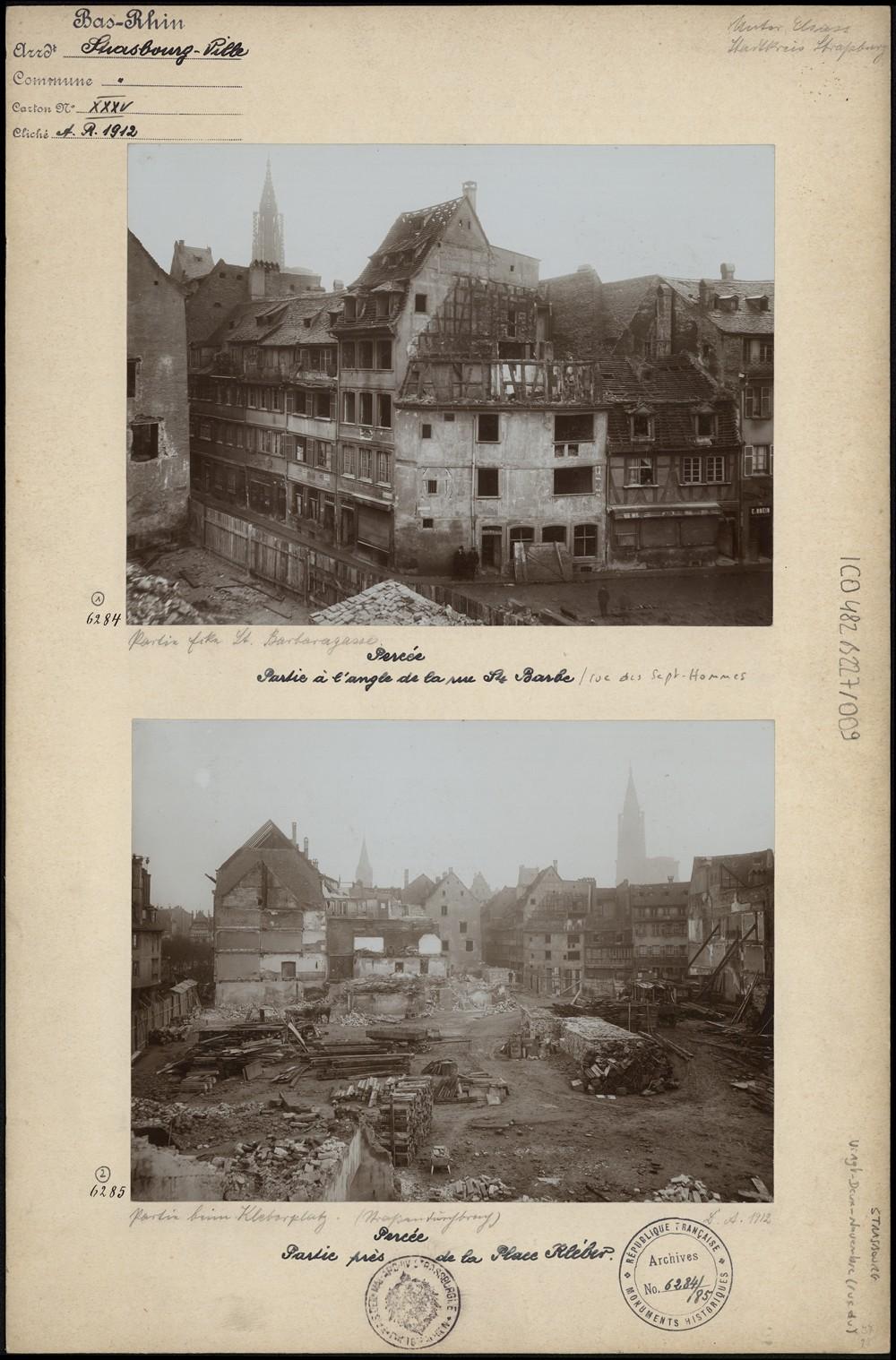 Travaux de la Grande Percée, rue Sainte-Barbe et près de la place Kléber à Strasbourg. S.n., 1912 (Denkmalarchiv, DRAC Alsace)