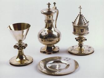 Ensemble d'objets liturgiques protestants, par I.C. Wich de Nuremberg vers 1875. Auteur : Claude Menninger, 1999 (Région Alsace, Service de l'inventaire du patrimoine)