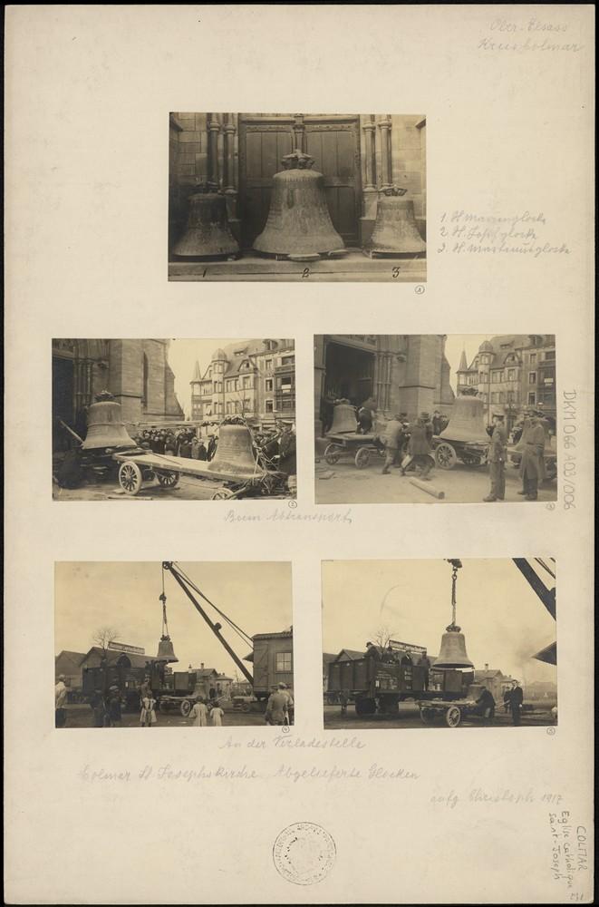 Église Saint-Joesph à Colmar, réquisition des cloches. Auteur : Christoph, 1917 (Denkmalarchiv, DRAC Alsace)