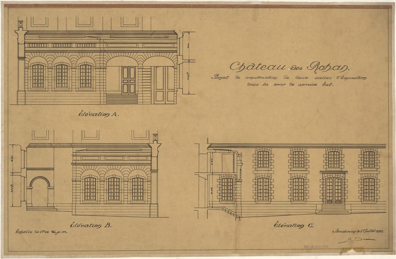Palais Rohan à Strasbourg, projet de construction de deux salles d'exposition. Auteur : Robert Danis, 1923 (Denkmalarchiv, © DRAC Alsace)