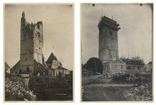 Église de Wattwiller après les destructions de 1914-1918, et en cours de restauration en 1923. S.n. (Denkmalarchiv, DRAC Alsace)