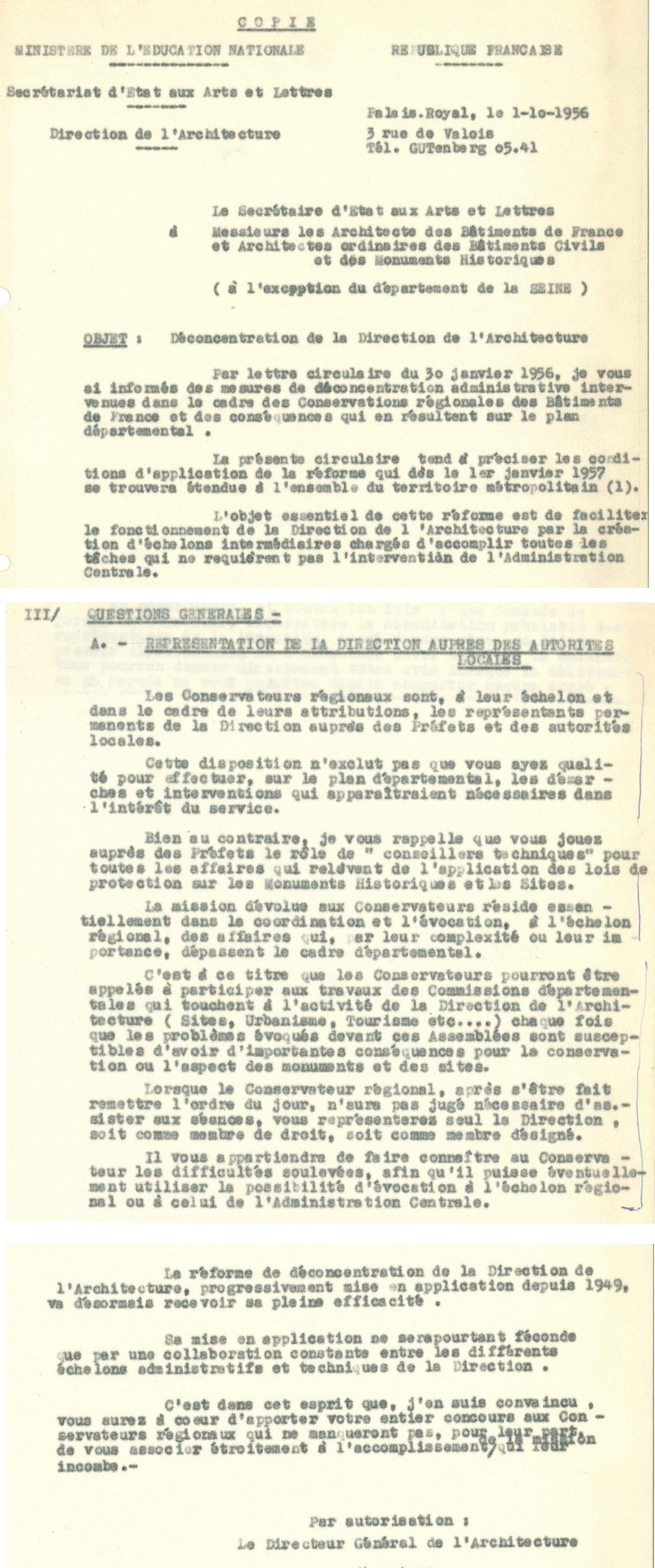 Circulaire du 1er octobre 1956 relative à la déconcentration de la Direction de l'architecture