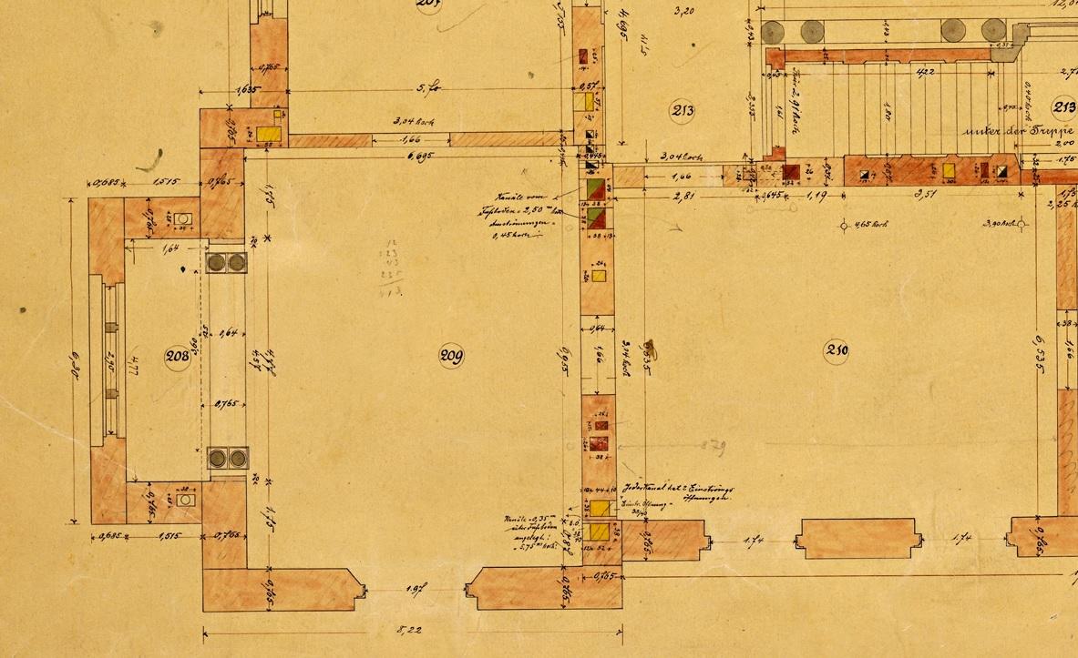 Détail d'un plan du 1er étage présentant le passage des différents types de conduits, s.d.(fonds Denkmalarchiv © DRAC Alsace)