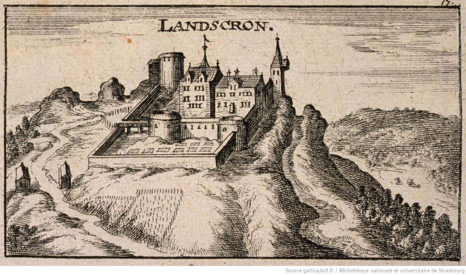 Landskron. Editeur : Ch. Riegel, 1650. Source Gallica.bnf.fr / BNU de Strasbourg, NIM00584