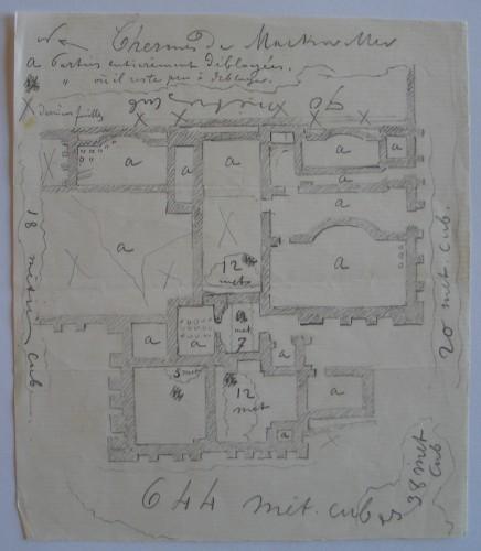 Plan levé à la main du site gallo-romain de Mackwiller. Auteur: Jean-Pierre Eugène Ringel, s. d. Musée de Saverne.