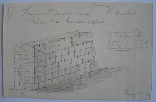 Fragment de mur romain. Auteur: Jean-Pierre Eugène Ringel, 1859. Musée de Saverne.