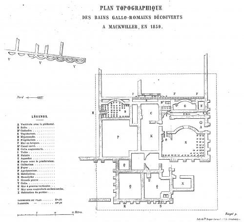 Plan du site gallo-romain de Mackwiller. Auteur: Pasteur Ringel, 1859. Source: Bulletin de la SCMHA, 1858-1860