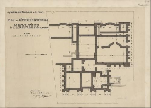 Plan du site gallo-romain de Mackwiller. Auteur: Paul Ernest Zigan, septembre 1911 (Denkmalarchiv, © DRAC Alsace) .