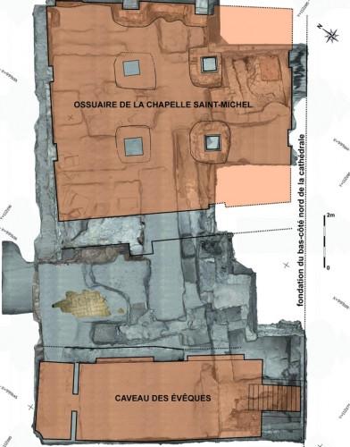 Plan du sous-sol de la chapelle Saint-Laurent avec indication de la chapelle Saint-Michel inférieure et du caveau des évêques. Auteurs : C. Gaston, J.-J. Bigot (Inrap), T. Landes (Insa de Strasbourg)
