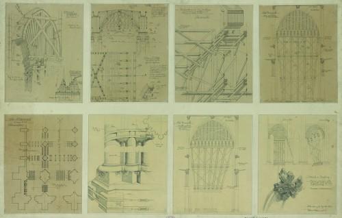 Plan d'étalement du narthex, de la nef et du pilier nord entre les travées 6 et 7, depuis l'est. Auteur : Patrick Bonnet, 1920 (Denkmalarchiv, DRAC Alsace)