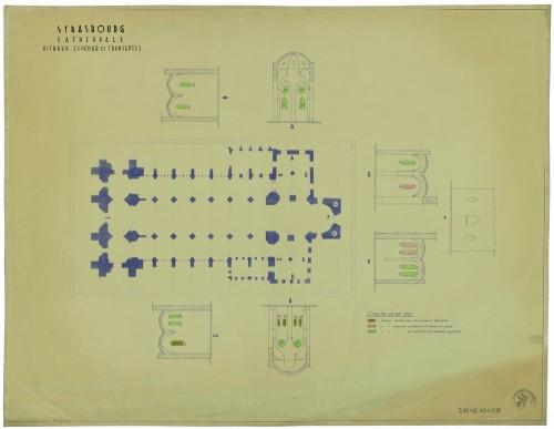 Situation des vitraux en 1957 (Denkmalarchiv, DRAC Alsace)
