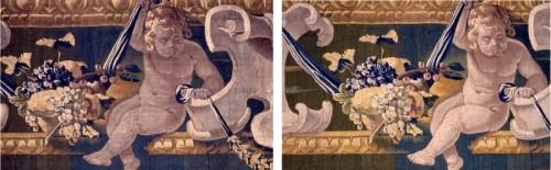 Détails de la bordure , avant et après aspiration (Manufacture royale de tapisseries De Wit)
