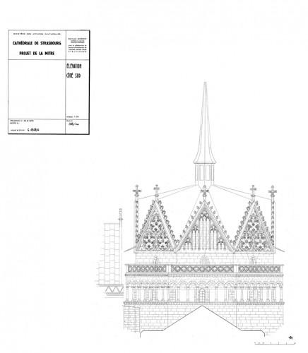 Projet de restauration de la tour de croisée de la cathédrale par B. Monnet, 1970. Auteur : G. Oberle (CRMH, DRAC Alsace)