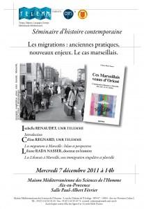 «Les migrations : anciennes pratiques, nouveaux enjeux. Le cas marseillais», 7 décembre 2011