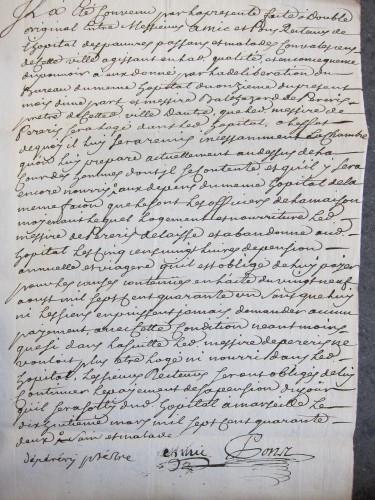 9HDB5 - Contrat passé entre les recteurs de l'Hôpital des Convalescents et Balthazar de Péréris (1742)