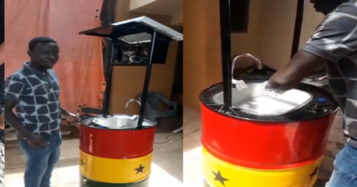Man Turns drum into Solar Basin for Washing Hands to Fight COVID-19