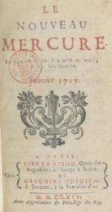 Page de garde du Nouveau Mercure de janvier 1717.