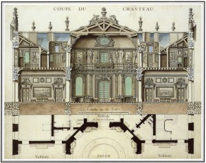 « Coupe du château » de Marly. Archives nationales, O/1/1472 n° 5