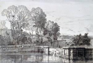Auguste Guillaumot, Abreuvoir, gravure exposée au Salon de 1857. Collection particulière.