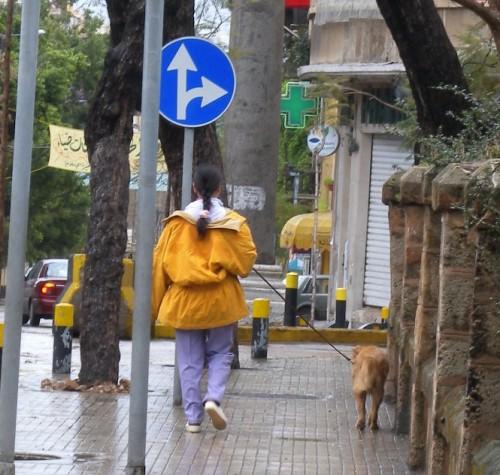 Une employée philippine promène le chien ©Assaf Dahdah