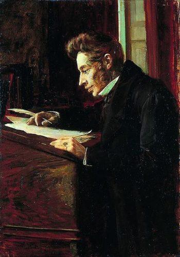 Portrait en buste du philosophe Søren Kierkegaard, dans des tons sombres et ocre. Il est de profil, assis à un haut bureau en bois, vêtu d'un long manteau noir qui se fond dans le décor. Ses cheveux sont ébouriffés, avec de longues pattes. Il observe en souriant quelques parchemins sur le bureau, une plume à la main.