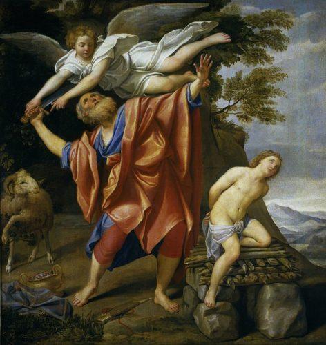 Tableau de style baroque. Il représente le récit biblique du sacrifice d'Isaac par son père Abraham. Abraham est au centre de l'image, pieds nus et vêtu de robes rouges et bleues ; il est âgé, avec une barbe touffue. Il brandit une épée dans la main droite et s'apprête à frapper, mais un ange en robes blanches volant au-dessus de lui arrête physiquement son geste. Isaac est à droite de l'image : il est jeune, quasiment nu, les mains dans le dos, et à moitié agenouillé sur un autel rustique. Abraham et Isaac ont les yeux levés au ciel. Un bélier est représenté au fond à gauche. Au fond à droite, on distingue des arbres, un ciel nuageux, et des montagnes en contrebas.