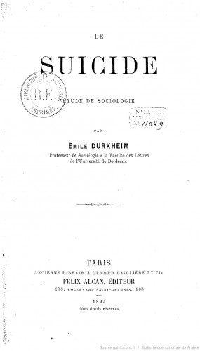 Le Suicide paraît en 1897. Cet ouvrage constamment réédité depuis continue à être enseigné dans les filières universitaires de sociologie.